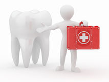 Stomatologist. Tooth and Men with medical kit Royalty Free Stock Photography