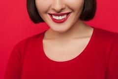 Stomatology advertising. Female with white teeth Royalty Free Stock Photography