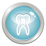 Stomatology button with tooth Royalty Free Stock Photography