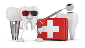 Stomatology. Cheerful tooth with glasses, red suitcase, implant, an aching tooth and medical mirror Stock Images
