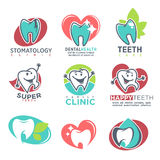 Stomatology Clinic Happy Teeth Emblems Poster Royalty Free Stock Images