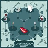 Stomatology color isometric concept icons Stock Photography