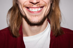 Stomatology commercial. White teeth closeup Stock Photography