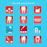 Stomatology and dental procedures flat icons Stock Image