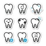 Ząb, ząb ikony ustawiać Zdjęcia Royalty Free
