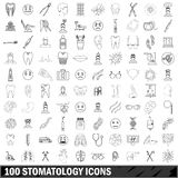 100 stomatology icons set, outline style Royalty Free Stock Images
