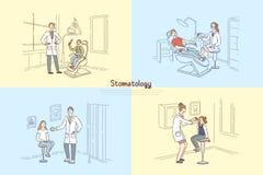 Stomatology klinika, ludzie przy dentysty biurem, stomatologist egzamininuje cierpliwych zęby, dziecko wizyty pediatry sztandar royalty ilustracja