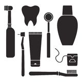 Stomatology. Oral care and hygiene, dentistry and tooth cleaning. Black silhouettes. Vector illustration. Stomatology. Oral care and hygiene, dentistry and tooth royalty free illustration
