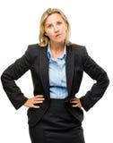 Stomme rijpe bedrijfsdievrouw op witte achtergrond wordt geïsoleerd stock fotografie