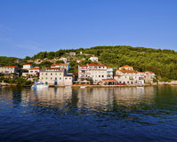 Stomorska, Croatia. Panoramic view  from the bay. Stock Photos