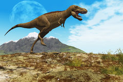 Stomping Ground. A Tyrannosaurus Rex dinosaur walks through his territory Royalty Free Stock Image