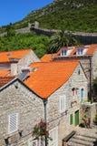 Ston镇和它的防御墙壁, Peljesac半岛,克罗地亚 免版税库存图片