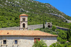 Ston镇和它的防御墙壁, Peljesac半岛,克罗地亚 免版税图库摄影