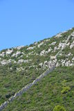 Ston防御墙壁-达尔马提亚,克罗地亚 库存照片