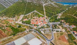Ston aerial with city walls, Croatia Royalty Free Stock Image
