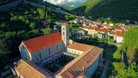 Ston church oncaming shot, aerial stock footage