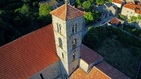 Ston church tower, aerial stock video footage