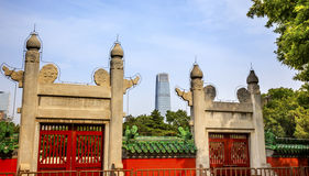 Ston eRed Gate Temple of Sun City Park Modern Skyscraper Beijing, Stock Photos
