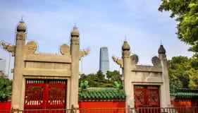 Ston eRed Gate Temple of Sun City Park Modern Skyscraper Beijing, Stock Photos