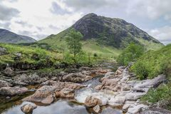 Ston mor mountain with river Etive in foreground. Lochaber, Scotland Royalty Free Stock Images
