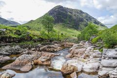 Ston mor mountain with river Etive in foreground. Lochaber, Scotland Royalty Free Stock Photos
