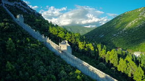 Ston old east wall, aerial stock footage