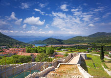 Ston, old mediterranean town with famous saltworks. Croatia. Stock Photos