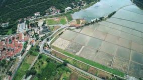 Ston on Peljesac peninsula, aerial stock video