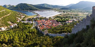 Ston town walls, Croatia. Royalty Free Stock Images