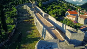 Ston walls, aerial stock footage