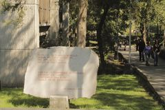 Stone με ένα ποίημα σε MUAC, Πόλη του Μεξικού στοκ φωτογραφίες με δικαίωμα ελεύθερης χρήσης