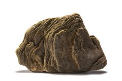 Stone με μια βαλμένη σε στρώσεις δομή σε ένα άσπρο υπόβαθρο Στοκ Φωτογραφίες
