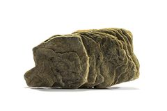 Stone με μια βαλμένη σε στρώσεις δομή σε ένα άσπρο υπόβαθρο Στοκ Εικόνες