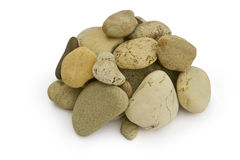 Stone. Big group of sea stones are isolated on a white background Stock Photo