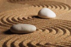Stone. On raked sand. Mini rock garden. Zen concept Royalty Free Stock Image