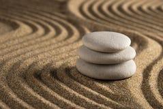Stone. On raked sand. Mini rock garden. Zen concept Royalty Free Stock Photos