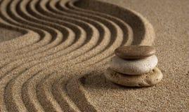 Stone. On raked sand. Mini rock garden. Zen concept Royalty Free Stock Photography