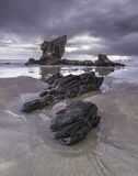 Stone. The Aguilar beach in a winter rainy day at dawn Royalty Free Stock Photography