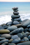 Stone. Zen stack of pebbles on the beach Stock Image