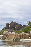 The stone. Stone at the La digue island, Seychelles stock photo