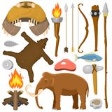 Stone age aboriginal primeval historic hunting primitive people weapon and house life symbols vector illustration. Anthropology prehistoric labor tools Royalty Free Stock Photo