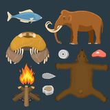 Stone age vector aboriginal primeval historic hunting primitive people weapon and house life symbols illustration. Stone age aboriginal primeval historic Stock Image