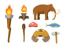 Stone age vector aboriginal primeval historic hunting primitive people weapon and house life symbols illustration. Stone age aboriginal primeval historic Royalty Free Stock Image