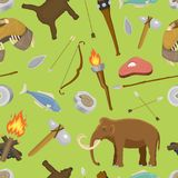 Stone age aboriginal primeval historic hunting primitive stoneage caveman people weapon and house life symbols vector Royalty Free Stock Photography