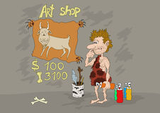 Stone Age Art Shop. Prehistoric artist prepares his first illustration for examination on a photo bank Royalty Free Stock Image
