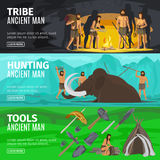 Stone age caveman evolution banners. Stone age extinct extinction ancient primitive caveman evolution banners. Primitive man like Neanderthals or Homo sapiens Royalty Free Stock Images
