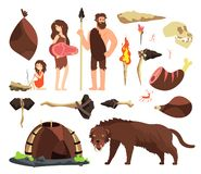 Stone age caveman. Hunting neolithic people, mammoth and prehistoric tools. Vector cartoon ancient human characters. Caveman family and hammer, ax tools royalty free illustration