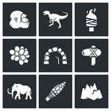Stone Age and Dawn of the Dinosaurs icons. Vector Illustration. Stock Image