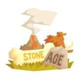 Stone age elements, volcanic eruption, mammoth, prehistoric symbols Stock Image