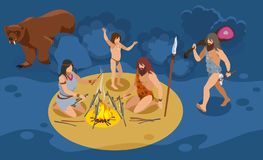 Stone Age Family Composition. Stone age family isometric composition with hunting and cooking  symbols vector illustration royalty free illustration